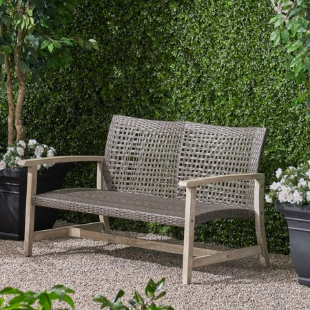 Marcia Outdoor Wood and Wicker Loveseat, Light Gray Finish with Mix Black