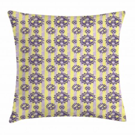Wheel Stripe - Steampunk Throw Pillow Cushion Cover, Graphic Machine Wheels Pattern on Grungy Striped Background, Decorative Square Accent Pillow Case, 20 X 20 Inches, Lavender Yellow and Eggplant, by Ambesonne