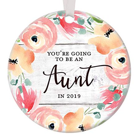 You're Going to Be An Aunt in 2019 Pregnancy Reveal Announcement Christmas Ornament Sister In Law Surprise Decoration Flower Bloom Ceramic 3