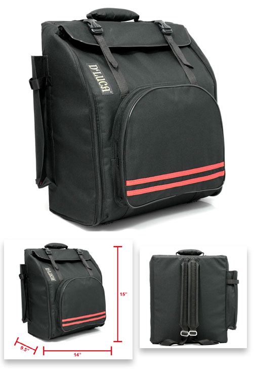D'Luca Pro Series Accordion Gig Bag for 12 Bass Accordions, 1,2 and 3 Row Buttons,... by D'Luca