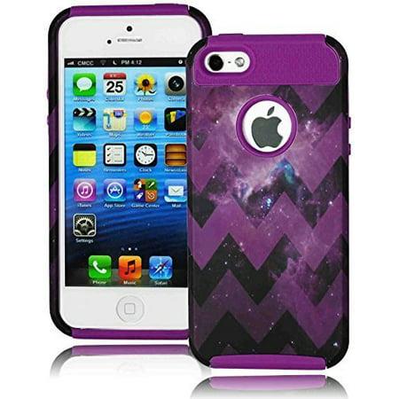 Bastex Heavy Duty Hybrid Hard Case for Apple iPhone 5, 5S, 5G, 5th Generation - Soft Neon Purple Silicone Shell With Purple Space Galaxy Nebula Star Chevron Design (Neon Soft Shell)