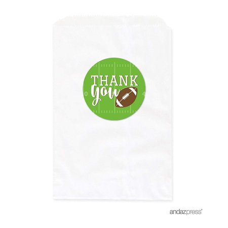Birthday DIY Party Favors Kit with Thank You Label and White Favor Bags, Football Touchdown! Party, 24-Pack - Football Birthday Party Supplies