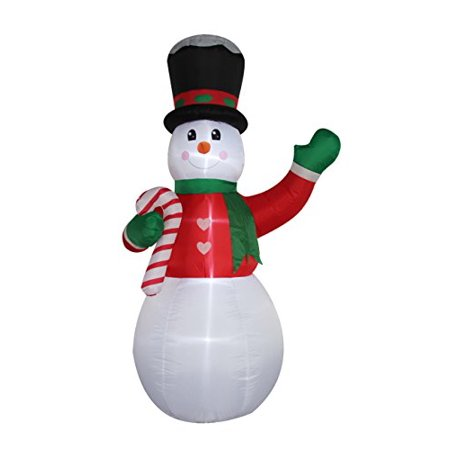 Christmas Self Inflating Illuminated Blow-Up Yard Decorations (Snowman with Candy cane 8 Feet Tall) ()