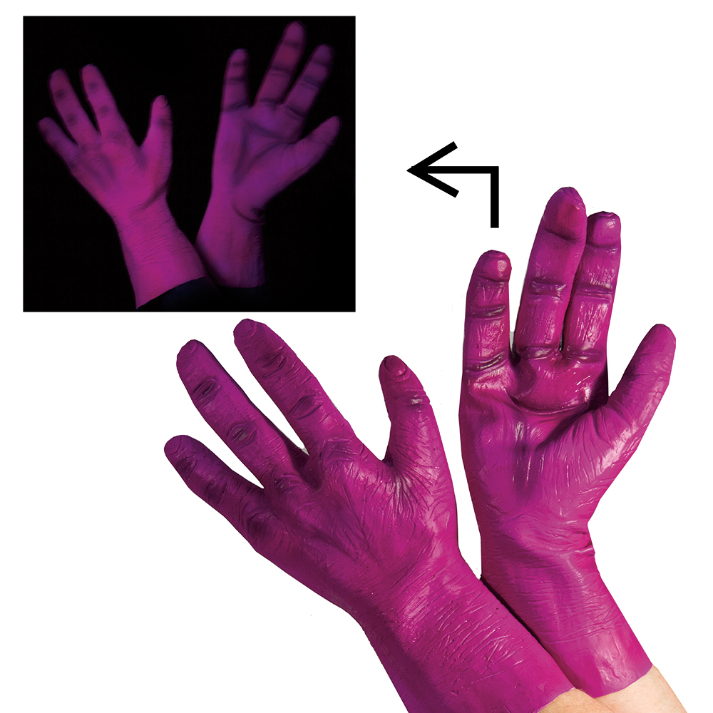 Orange Blacklight Glowing Alien Halloween Hands
