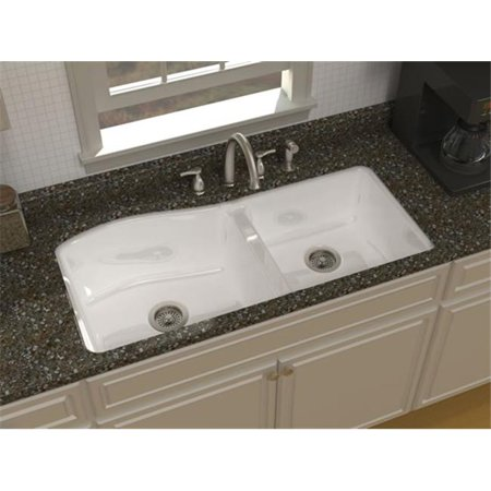 SONG S-8640-5U-70 Undercounter Kitchen Sink in White with 5 Faucet Holes