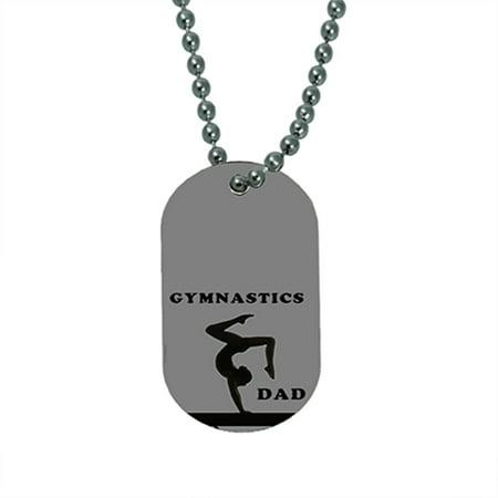 KuzmarK Pendant Dog Tag Necklace - Gymnastics Dad