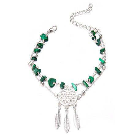 Fancyleo Dream Catcher Feather Charms Anklets Turquoise Foot Chain Anklet For Women Beach Jewelry