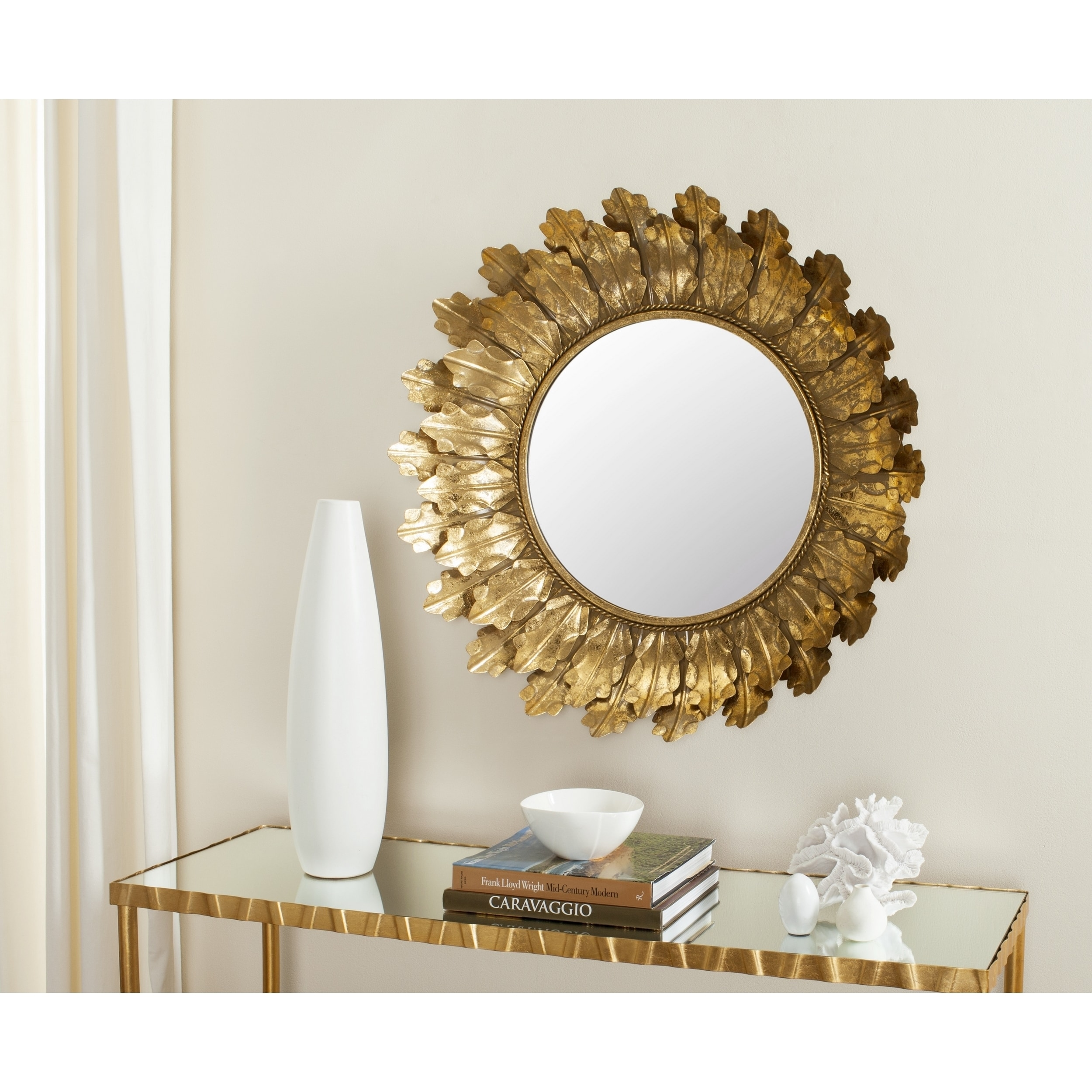 Safavieh Sybil Leaf Mirror, Gold