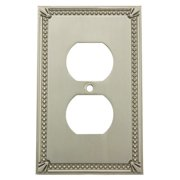 Cosmas 44018 Satin Nickel Single Duplex Outlet Wall Plate