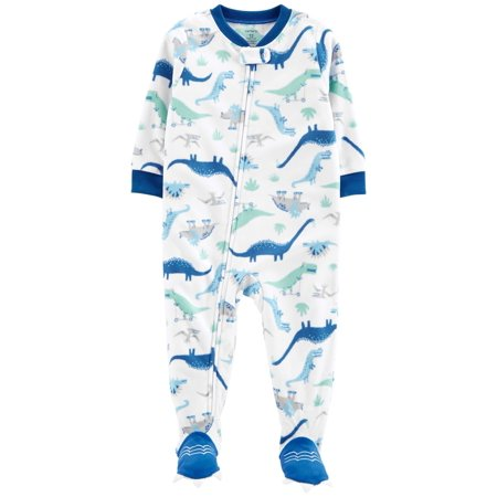Carter's Baby Boys' 1-Piece Dinosaur Fleece PJs, Blue Dino