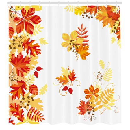 Fall Decor Shower Curtain, Autumn Themed Pattern Chestnut Oak Maple Leaves Berries Corner Design Elements, Fabric Bathroom Set with Hooks, 69W X 70L Inches, Multicolor, by Ambesonne ()