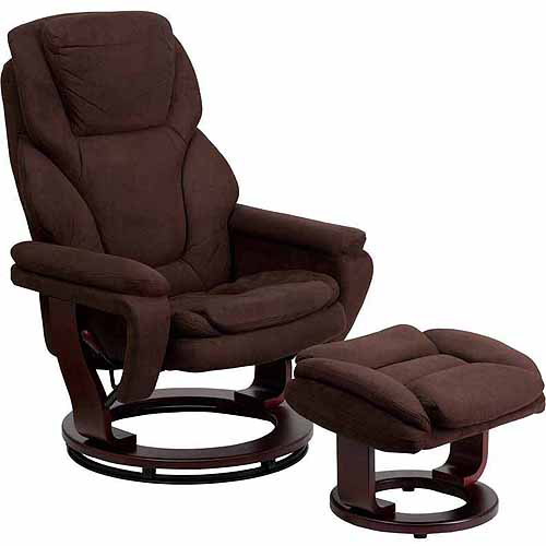 Flash Furniture Contemporary Microfiber Recliner and Ottoman with Swiveling Mahogany Wood Base, Brown
