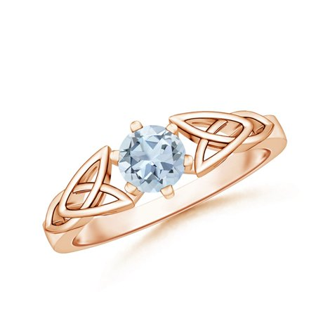 March Birthstone Ring - Solitaire Round Aquamarine Celtic Knot Ring in 14K Rose Gold (5mm Aquamarine) - SR0652AQ-RG-A-5-7