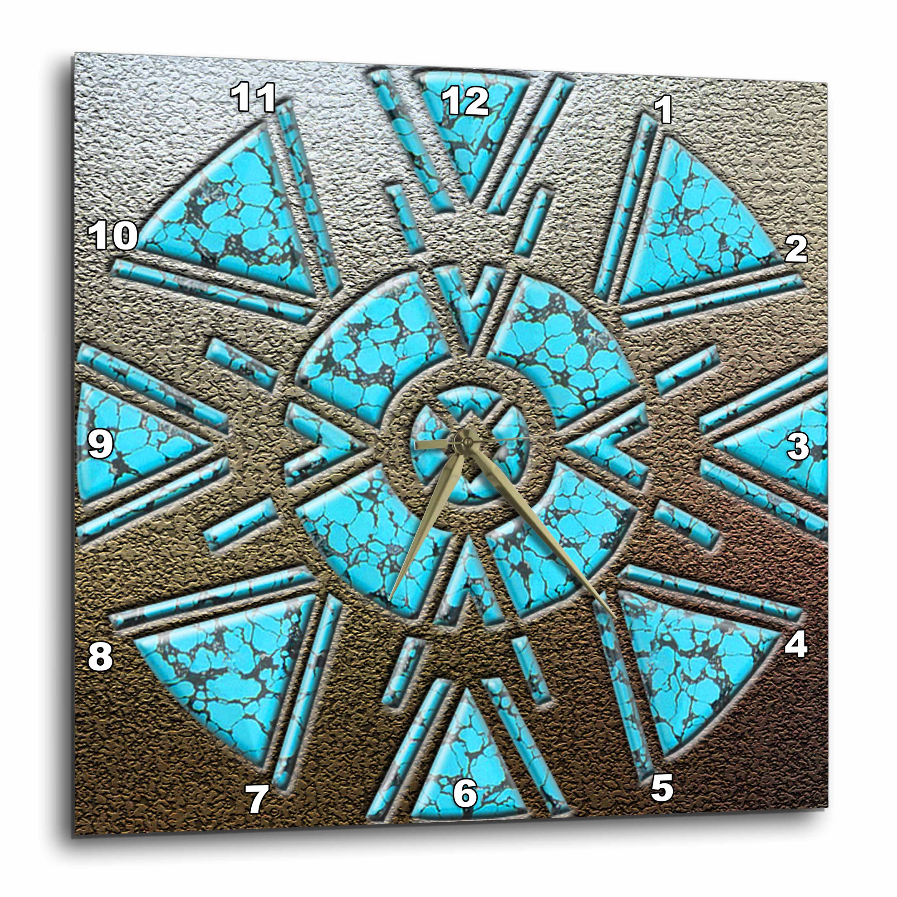 3dRose Designer One of A Kind Native American Art, Wall Clock, 15 by 15-inch