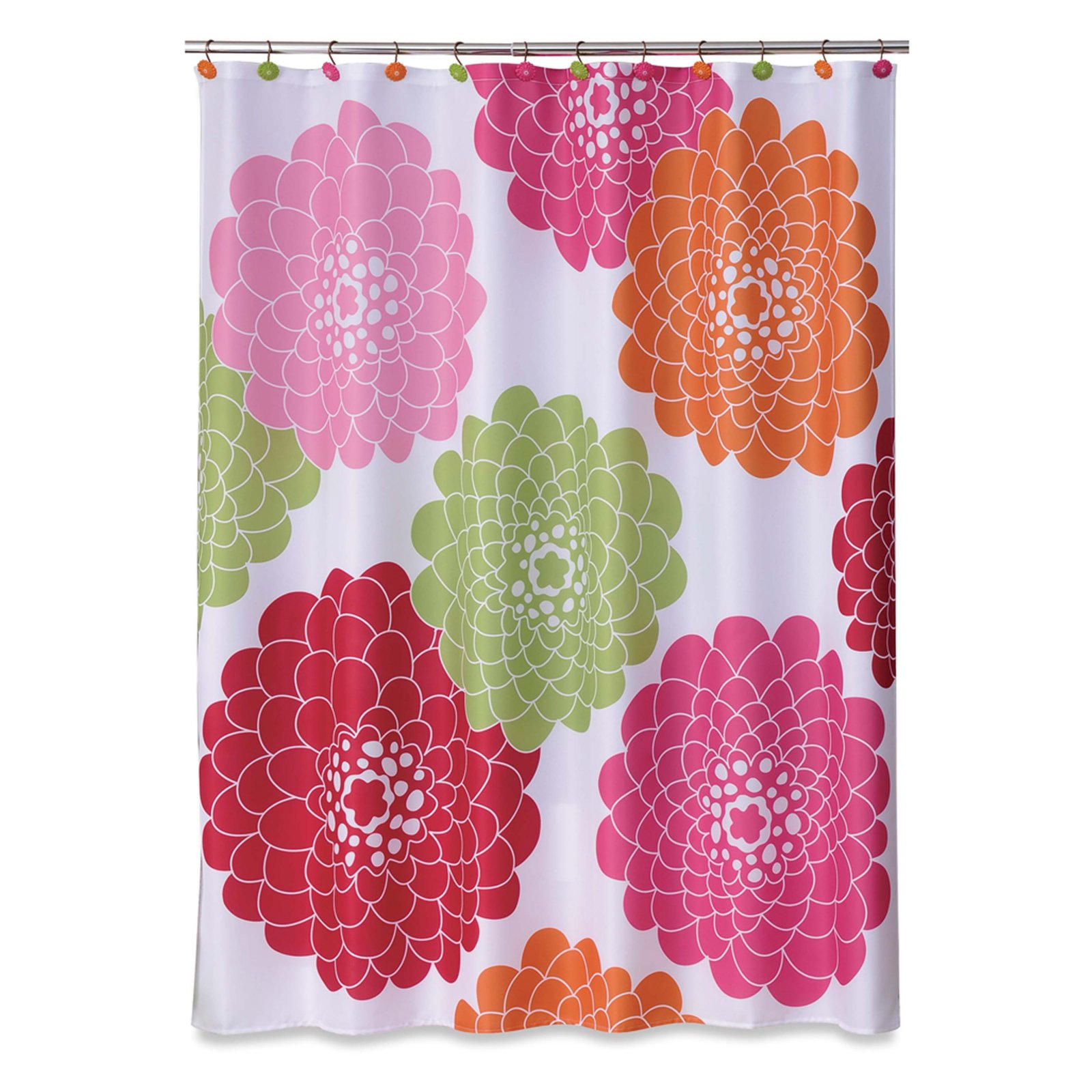 Allure Stella Pink Fabric Shower Curtain