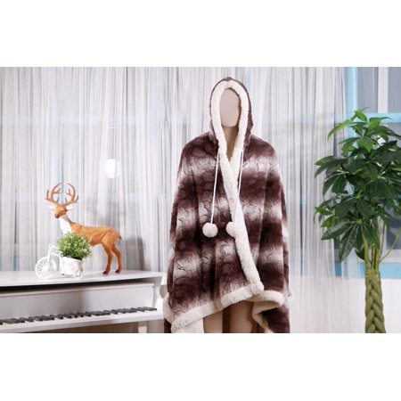 Chic Home Aisha Brand New   Ultra Plush Sherpa Lined Snuggle Up Animal Print Hoodie Wearable Blanket 51  X71   Robe Hoodie Brown