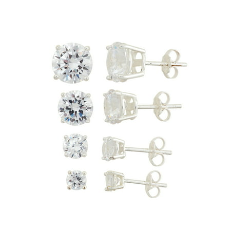 White CZ Sterling Silver 4mm, 5mm, 7mm and 8mm Round Stud Earrings Set