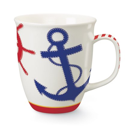 Nautical Chic Navy Anchor and Ships Wheel Coffee Latte Tea 16 Oz Harbor Mug (Harbor Cup 3 Eye)
