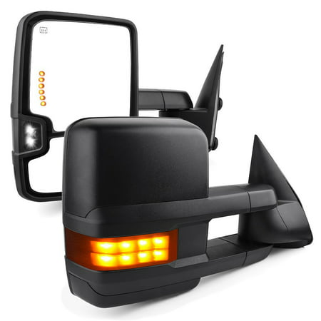 Towing Mirrors for 03-06 Chevy Silverado Tahoe Suburban Avalanche GMC Sierra Yukon Cadillac Escalade Power Heated LED Signal Lamp Clearance Light Pair Mirrors