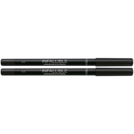 L'Oreal Paris Infallible Pro-Last Waterproof Up to 24HR Pencil Eyeliner, Black, 2 COUNT, ONLY AT WALMART