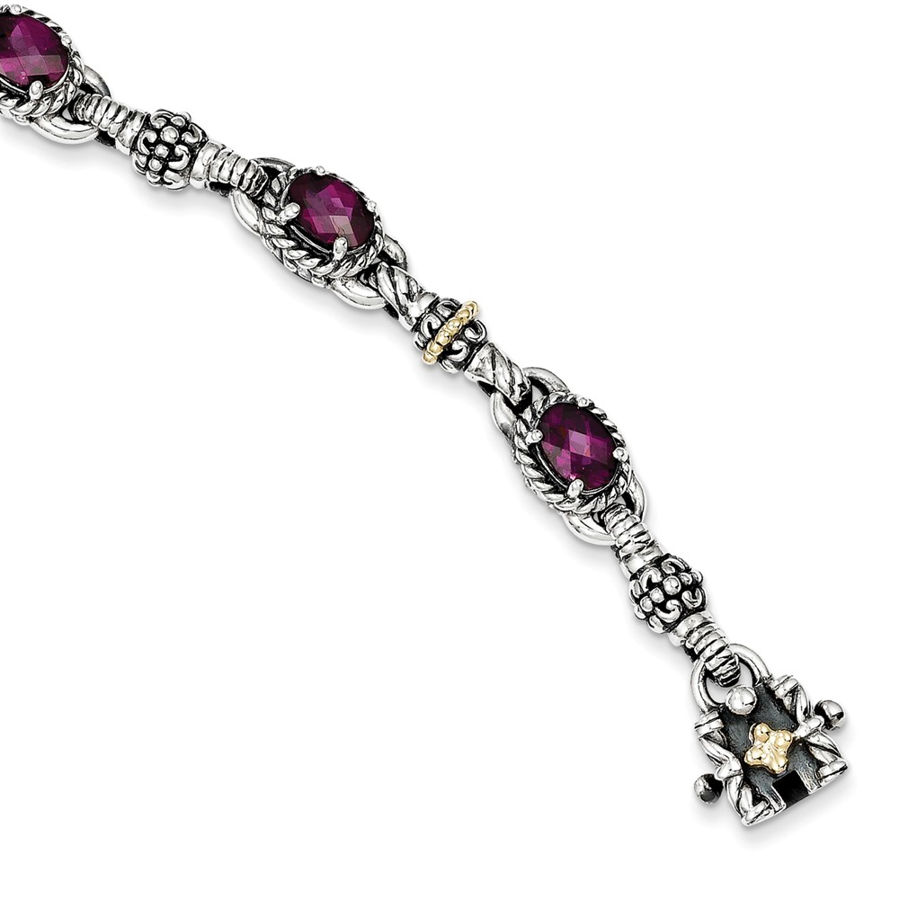 ICE CARATS ICE CARATS 925 Sterling Silver 14kt Rhodolite Red Garnet Bracelet 7.25 Inch Gemstone Fine Jewelry Ideal Gifts... by IceCarats Designer Jewelry Gift USA