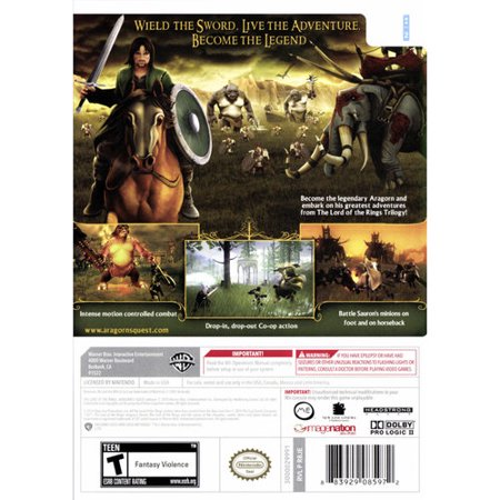 The Lord of the Rings Aragorn's Quest WII video game - Best