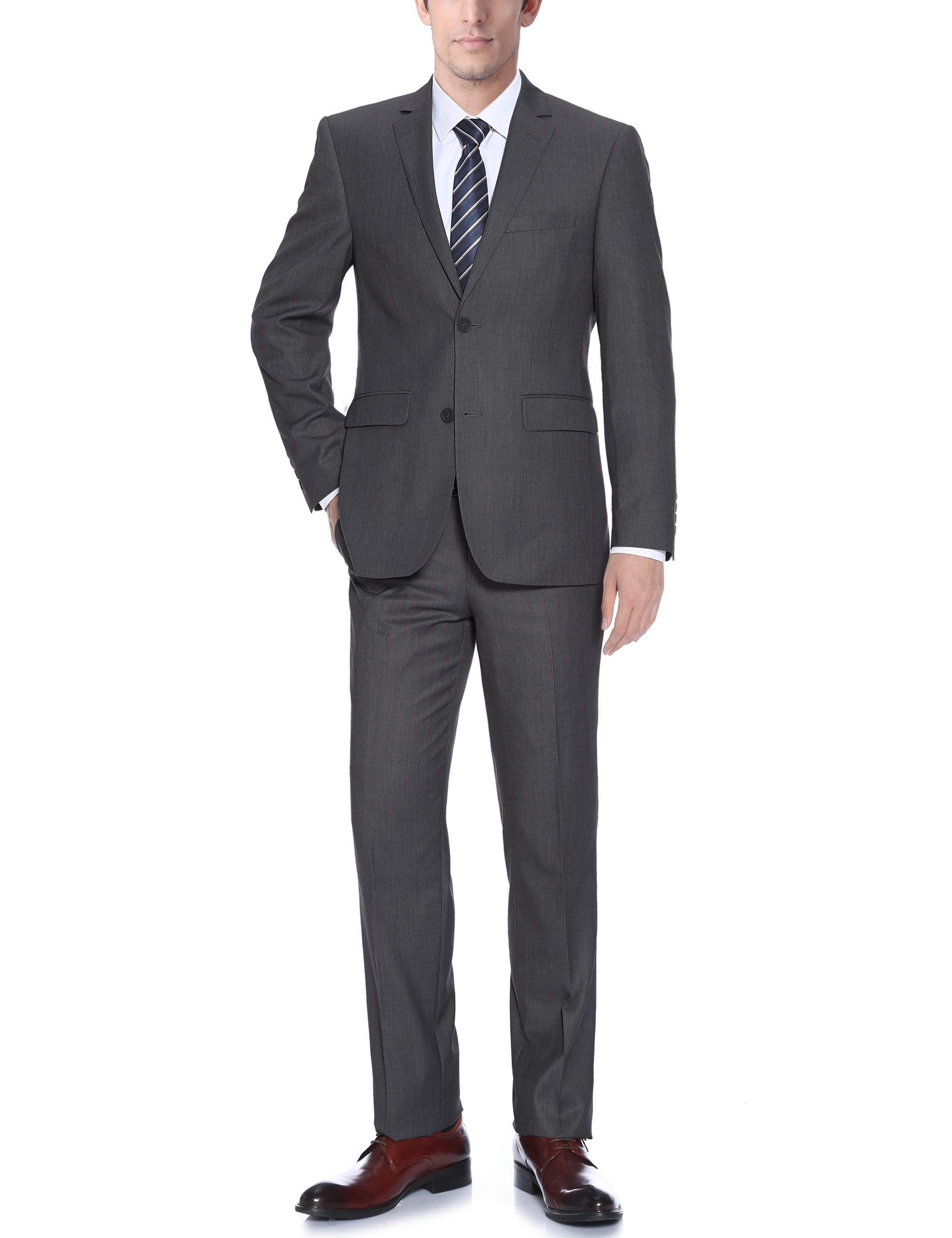 Barzetti Men's Dark Grey Slim Fit Italian Styled Two Piece Suit