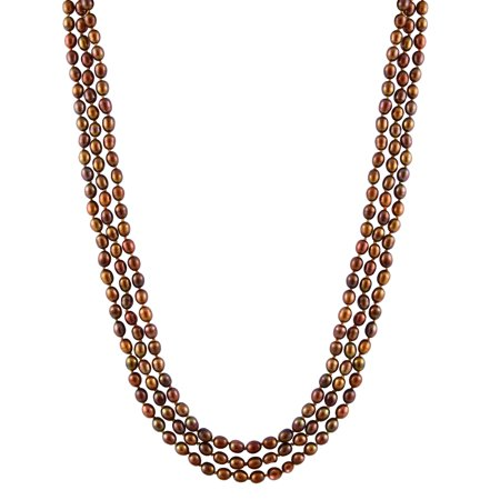 Handpicked A Quality 5-6mm Chocolate Brown Freshwater Cultured Pearl Strand Endless 72