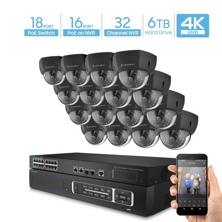 Amcrest 4K UltraHD Video Security Camera System w/ 4K 32CH PoE NVR, (16) x 4K Dome IP PoE Cameras, 18-Port PoE+ Switch w/Gigabit Uplink, Pre-Installed 6TB Hard Drive (Supports up to 24TB) (Black)