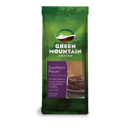 Green Mountain Coffee Roasters, Southern Pecan, Ground Flavored Coffee, Light Roast, Bagged 12oz.