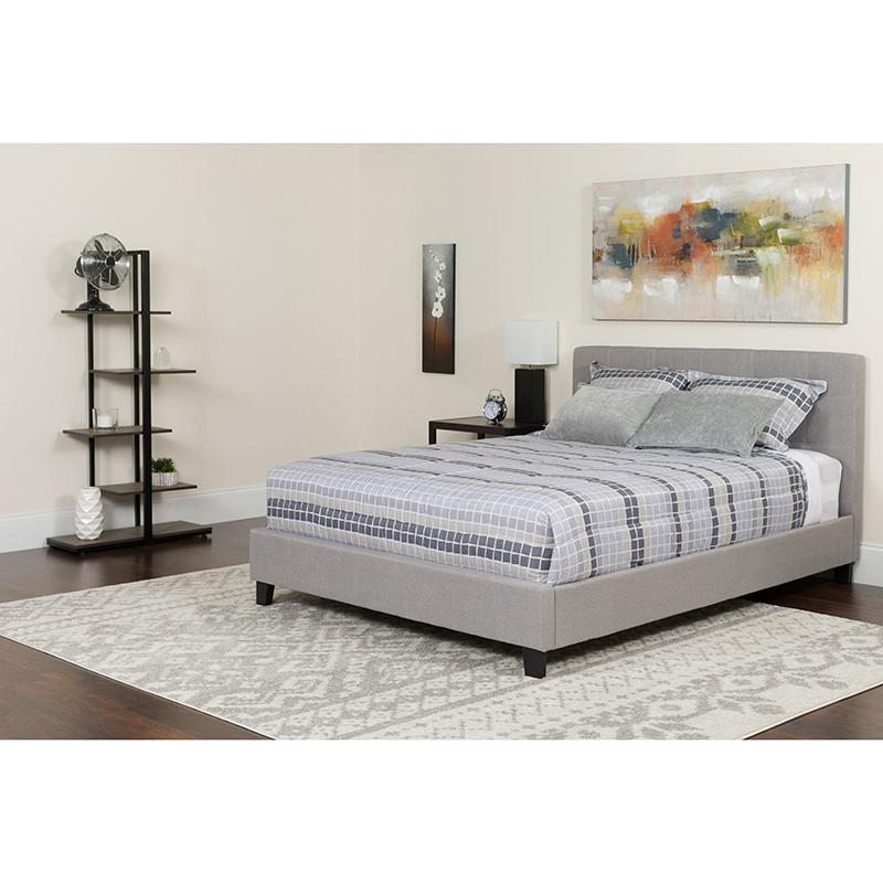 Twin Platform Bed-Light Gray - image 2 de 6