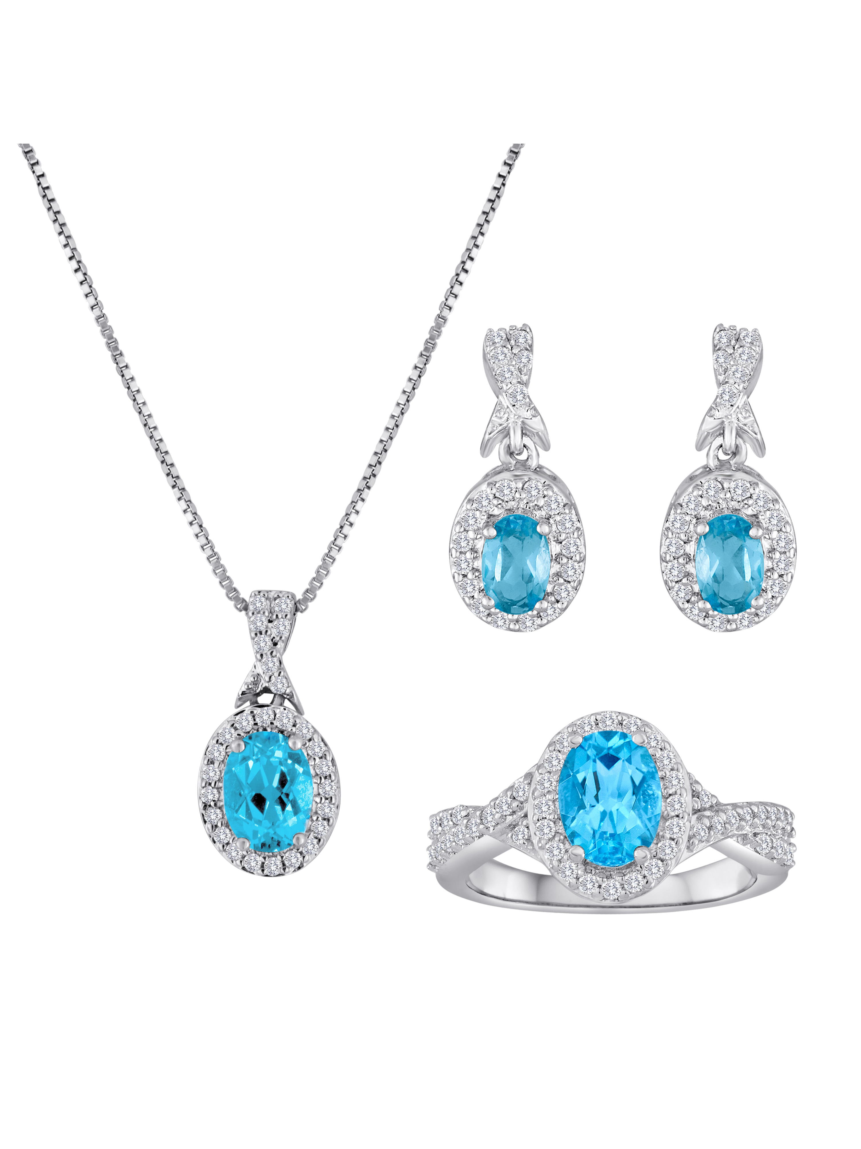 """Blue Topaz and CZ Silver-Tone Set with Ring, Earrings and Pendant, 18"""""""