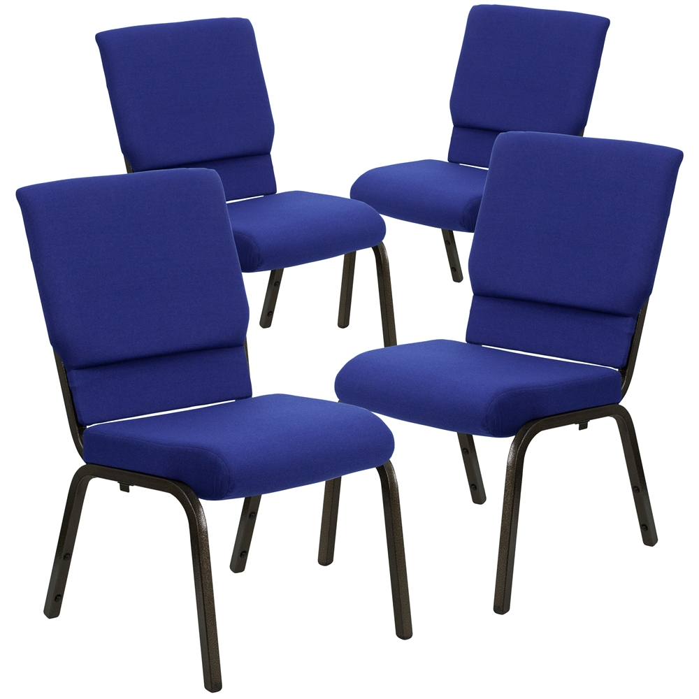 4 Pk. HERCULES Series 18.5''W Navy Blue Fabric Stacking Church Chair with 4.25'' Thick Seat - Gold Vein Frame