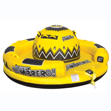 OBrien Inflatable 4 Person Sombrero Towable Boat Lake Water Raft Tube, Yellow