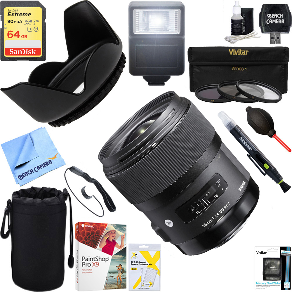 Sigma (340-965) Art 35mm F/1.4 DG HSM Wide-Angle Lens for Sony E Mount Cameras + 64GB Ultimate Filter & Flash Photography Bundle