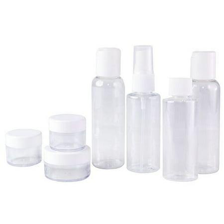 Set of 7 - Clear Plastic Travel Size Empty Bottles, TSA / Airline Approved (Clark Travel Bottle Set)