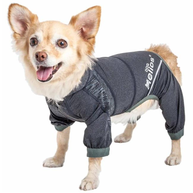 Dog Helios YGHL7BKXS Namastail 4-Way Stretch Breathable Full Bodied Performance Yoga Dog Hoodie Tracksuit - Charcoal Black, Extra Small - image 1 de 1