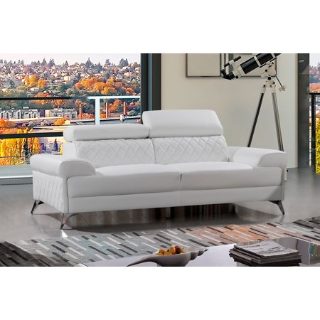 Upholstored Leather-M Sofa, Gray or White