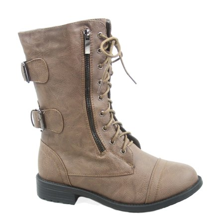 Pack-72 Women's Mid Calf Zipper Low Heel Combat Military Lace Up Boots Shoes](Boots Low Price)