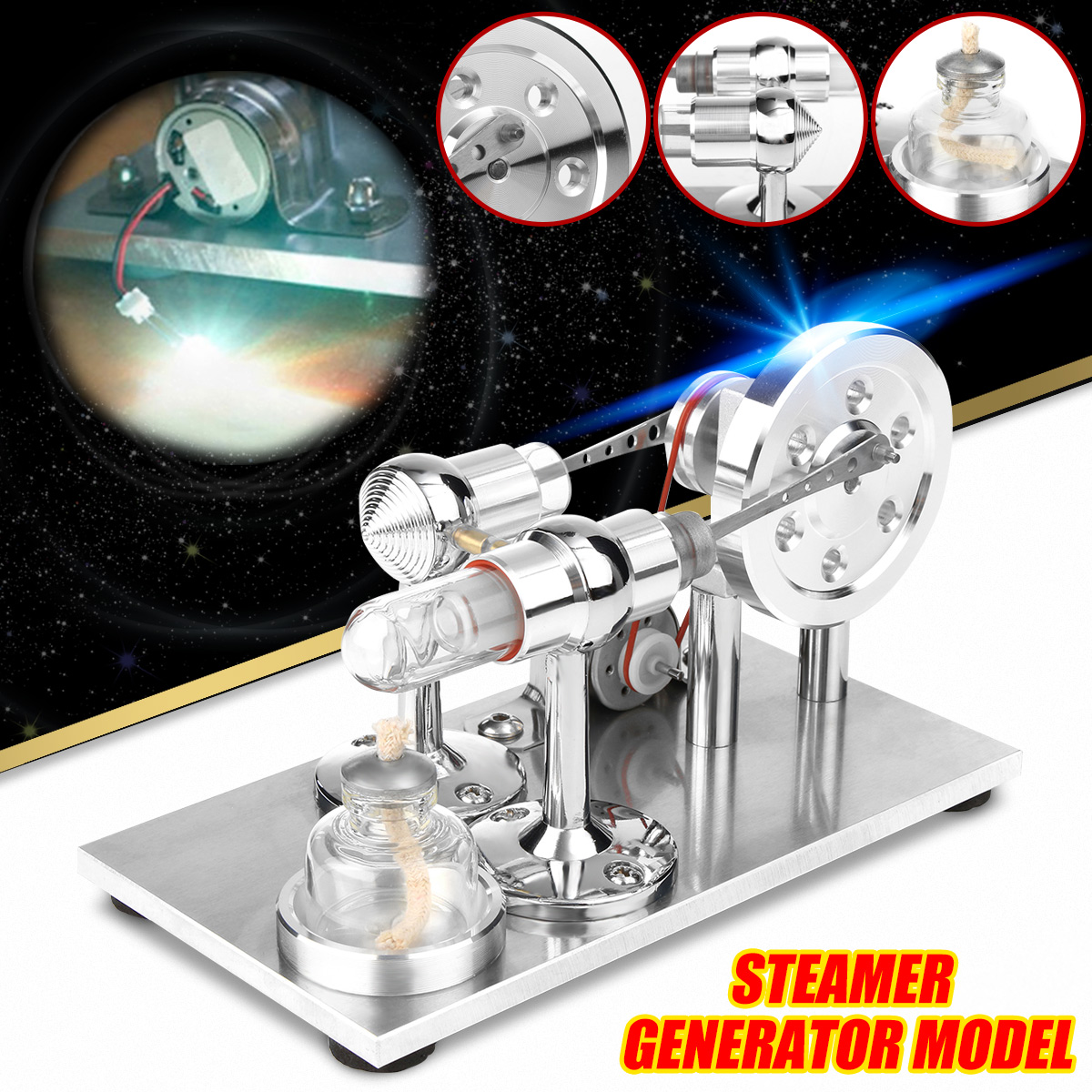 Hot Air Stirling Engine Motor Model Educational Toy Electricity Generator Physics Experiment Kit