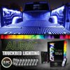 AURA® 8pc Truck Bed LED Lighting Kit - Multi-Color Bright Work Light - Sound Activated Music - Wireless Remote - OE-Style Rocker Switch - Easy Install - Tailgate Pin Switch - 2 Yr. Warranty - all-weather- LIGHTEN YOUR LOAD: Enhance the look and feel of your truck bed with a premium lighting kit that gives you brilliant multi-color lighting that blends seamlessly into your side panels.- SMARTCOLOR™ LED – When the work is done; enjoy 16 premium accent colors that give your truck a truly unique look and feel. Control lights, color, brightness, and flash pattern with an included WIRELESS REMOTE.
