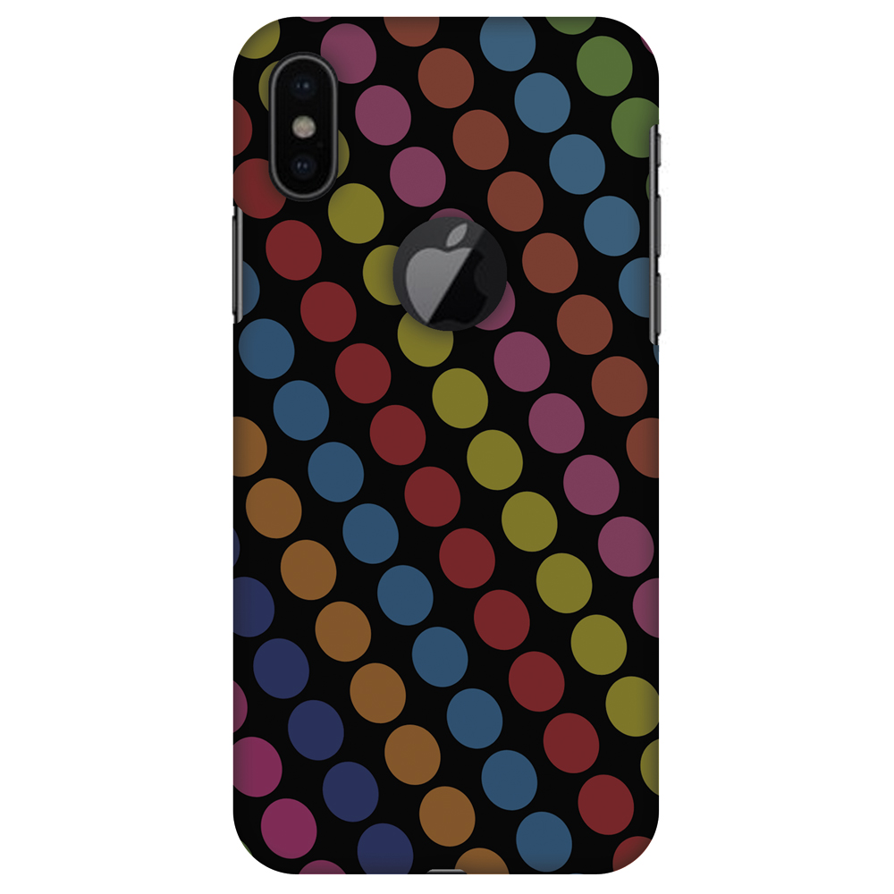iPhone X Designer Case, Premium Handcrafted Printed Designer Hard ShockProof Case Back Cover for Apple iPhone X - Funky Dot Stripes, Thin, Light Weight, HD Colour, Apple Logo Cut