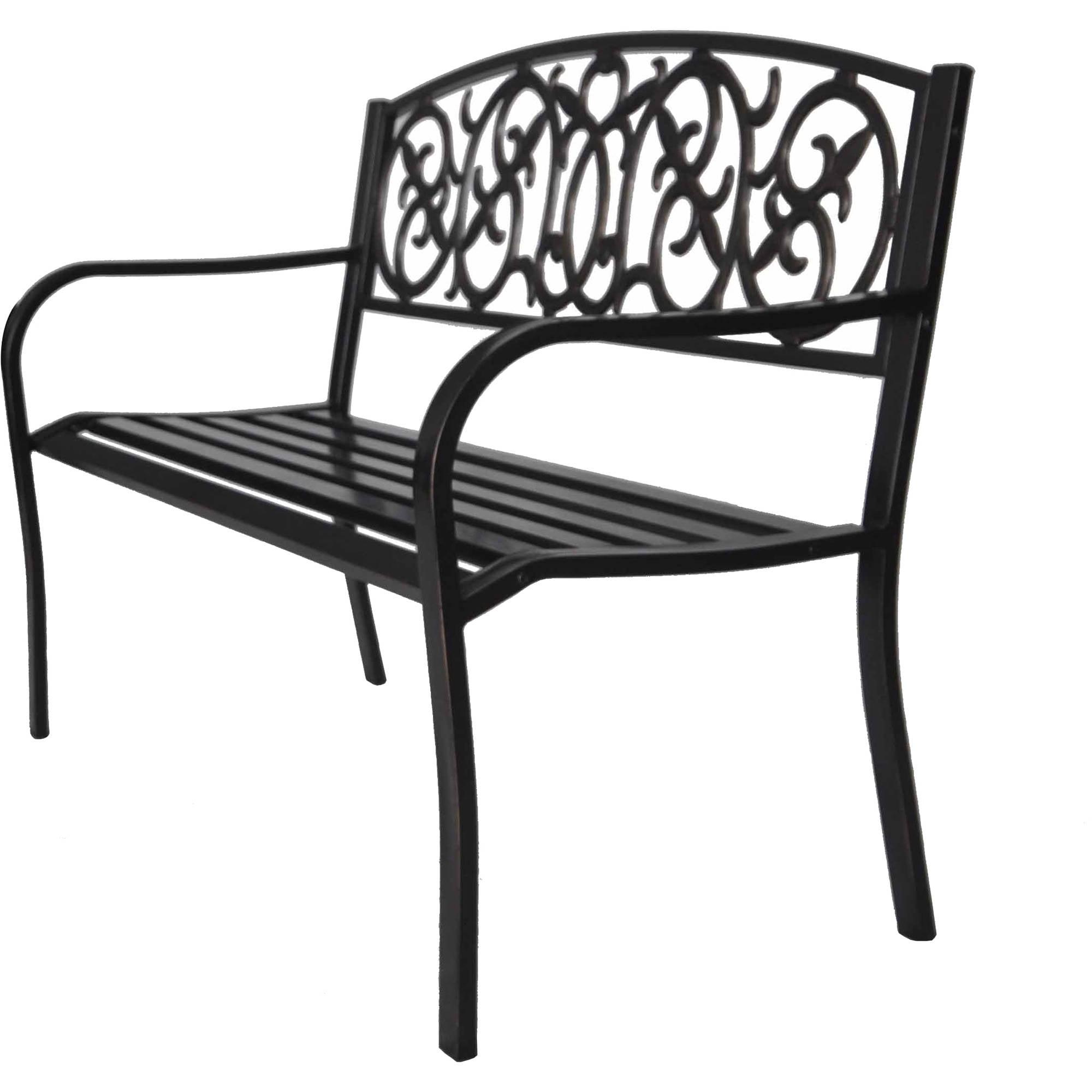 Brush Metal Park Bench Buy W Cushion And Save Walmart Com