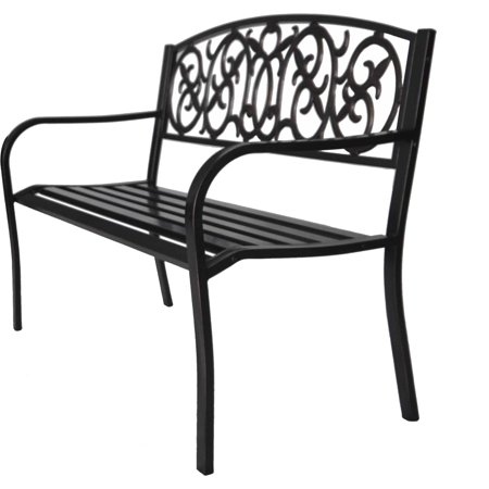Brush Metal Park Bench Buy W Cushion And Save Walmart Com