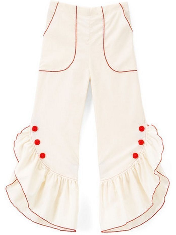 Girls Ivory Red Ruffled Trim Button Detail Cotton Pants
