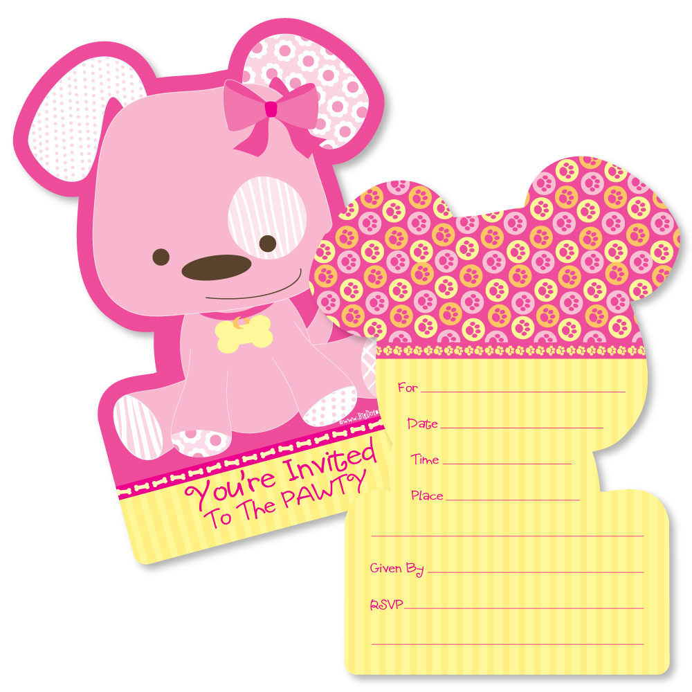 Girl Puppy Dog - Shaped Fill-In Invitations - Baby Shower or Birthday Party Invitation Cards with Envelopes - Set of 12
