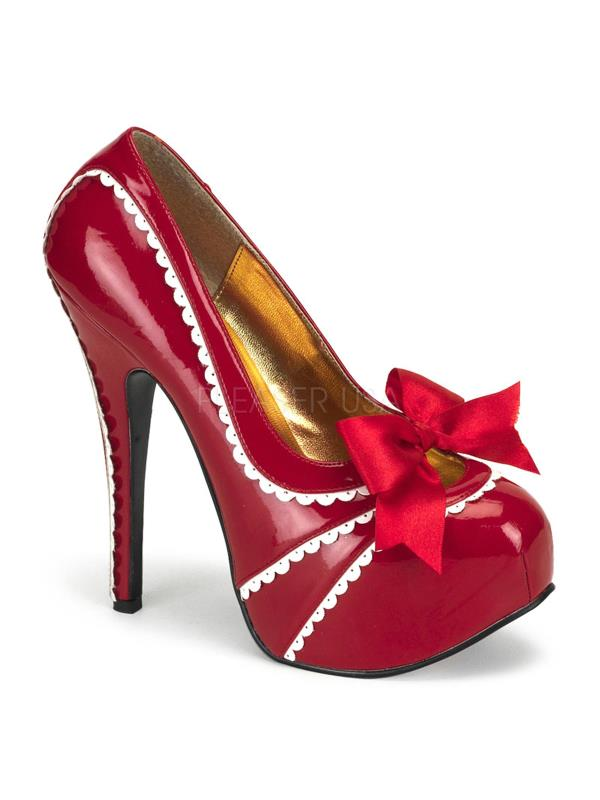 Bordello Shoes Teeze Red-Wht Pat Size: 8