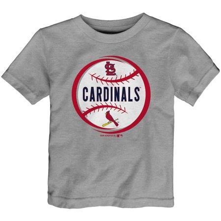 Mlb Circle - Toddler Heathered Gray St. Louis Cardinals Circle Logo T-Shirt
