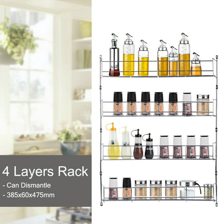 Grtsunsea 4 Tiers Spice Rack Closet Organizer Over the Door Pantry Organizer Bathroom Kitchen Cupboard Can Cabinet Home Shelf Storage Wall Mount Hanging Holder ()