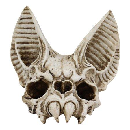 Ebros Fantasy Demon Vampire Fangs Bat Half Skull Statue Decor 7